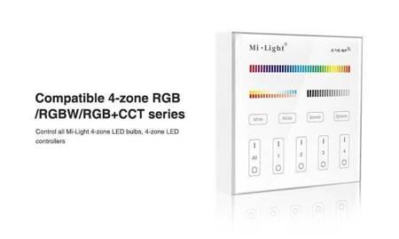 Panel naścienny - sterownik LED RGB+CCT 4 Strefowy Mi-light B4 na baterie