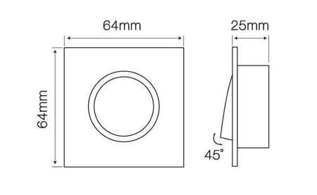Oprawa halogenowa sufitowa kwadratowa ruchoma, odlew stopu aluminium, MR11 - satyna