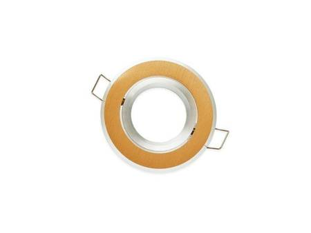 Oprawa halogenowa sufitowa okrągła ruchoma, aluminium - złota szczotkowana
