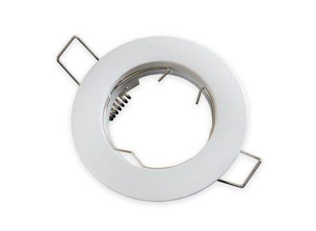 Oprawa halogenowa sufitowa okrągła stała, odlew stopu aluminium- biała matowa