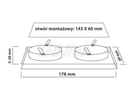 Oprawa halogenowa sufitowa - szklana, podwójna, stała