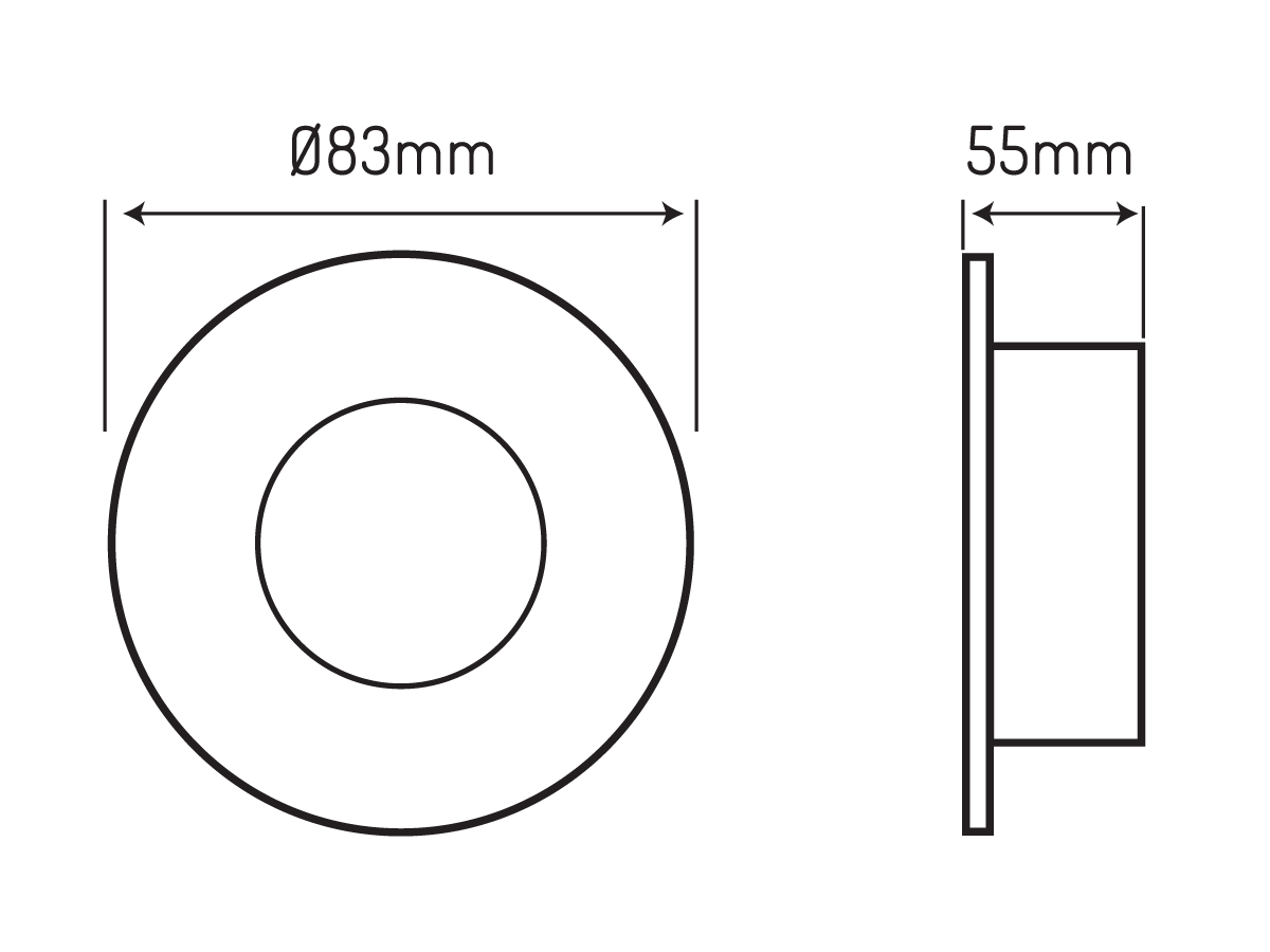 Oprawa sufitowa LED line® wodoodporna okrągła odlew czarna