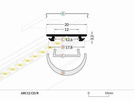 Profil gięty do taśm LED Arc12 CD/U5 anodowany 2 metry