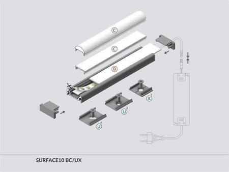 Profil nawierzchniowy do taśm LED Surface10 BC/UX czarny 1 metr
