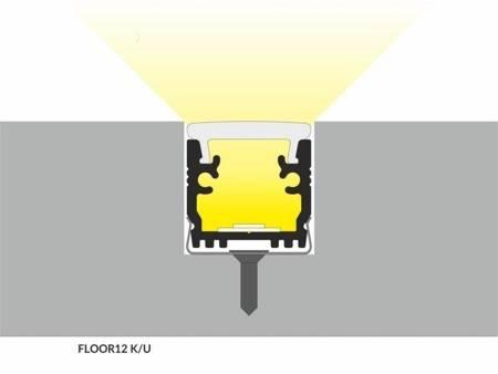 Profil wpuszczany do taśm LED FLOOR12 K/U anodowany 1 metr