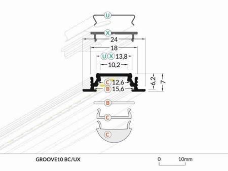 Profil wpuszczany do taśm LED Groove10 BC/UX anodowany 1 metr