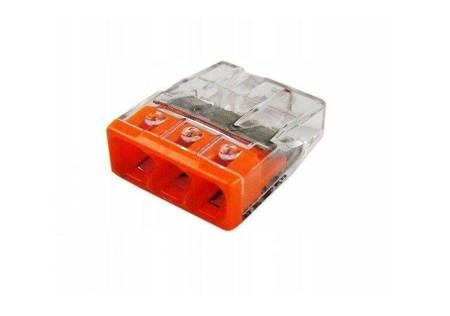 Szybkozłączka WAGO 3-torowa do przewodów typu drut o średnicy 0,5-2,5 mm2