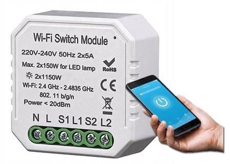 WiFi Double Light Switch Module TUYA Podwójny Włącznik Przekaźnik dopuszkowy