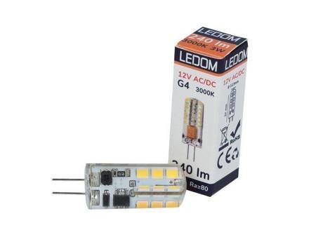 Żarówka LED G4 12V 3W 3000K biała ciepła silikon CCD