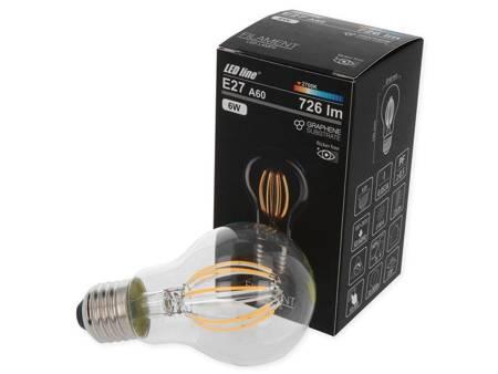Żarówka LED line FILAMENT E27 A60 180-265V 6W 726lm 2700K biała ciepła