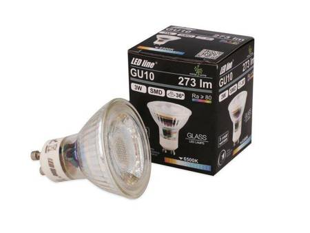 Żarówka LED line GU10 SMD 220-260V  3W 273lm 36˚ biała zimna 6500K